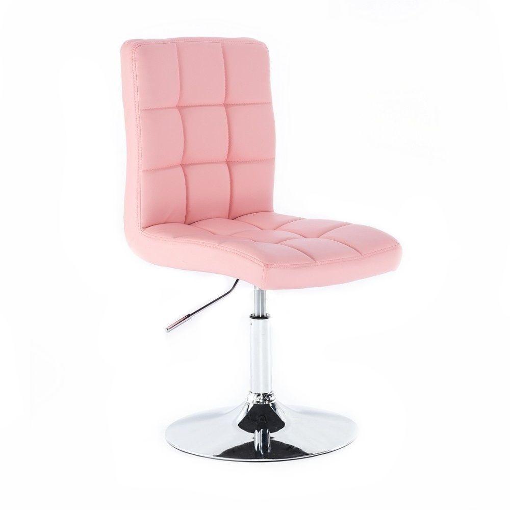 Kosmetická židle TOLEDO na stříbrné kulaté podstavě - růžová