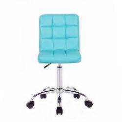 Kosmetická židle TOLEDO na stříbrné podstavě s kolečky tyrkysová