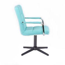 Kosmetická židle VERONA na černém kříži - tyrkysová