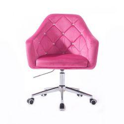 Kosmetické křeslo ROMA VELUR na stříbrné podstavě s kolečky - růžová