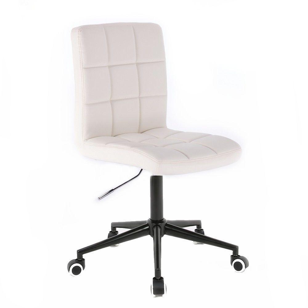 Kosmetická židle 1015K na černé podstavě s kolečky - bílá