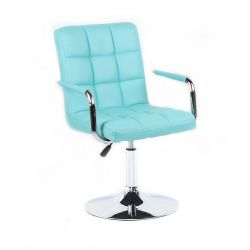 Kosmetická židle 1015KN na kulaté podstavě - tyrkysová
