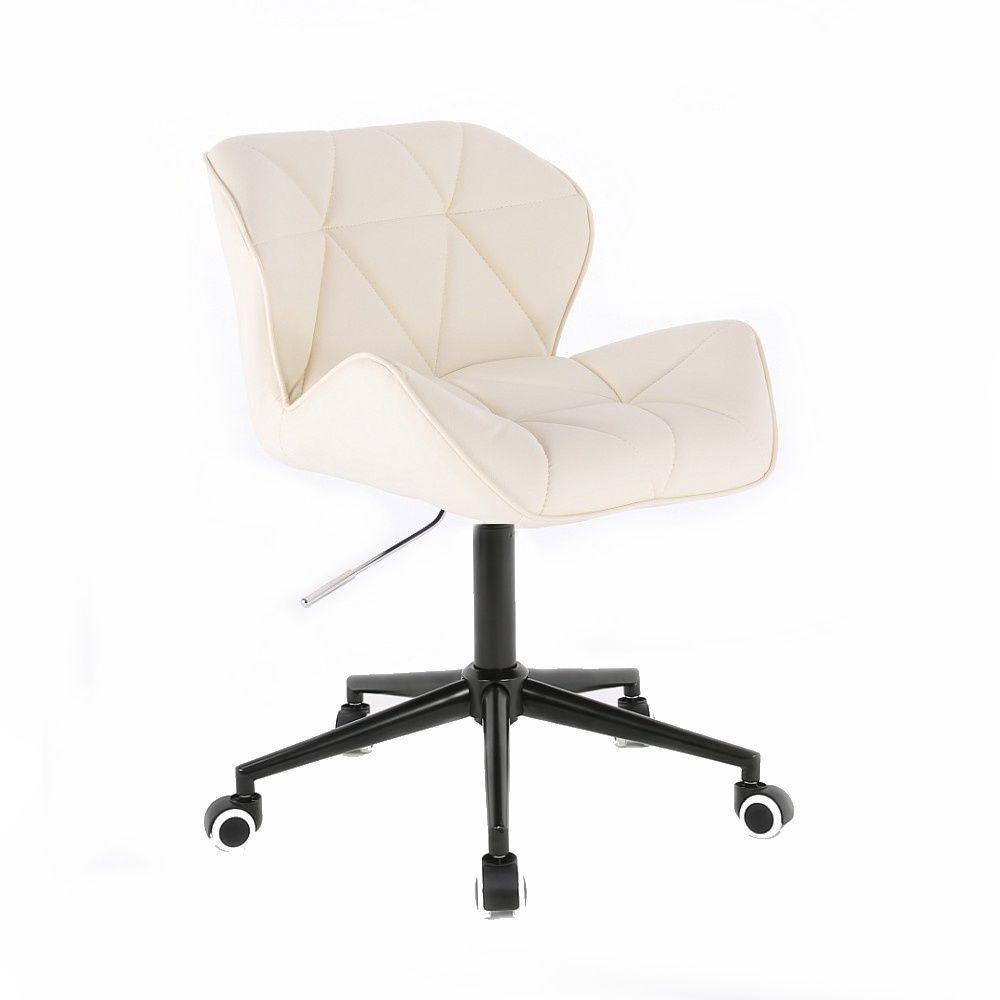 Kosmetická židle HC111K na černé podstavě s kolečky - krémová