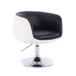 Kosmetická židle MONTANA na kulaté podstavě - černobílá