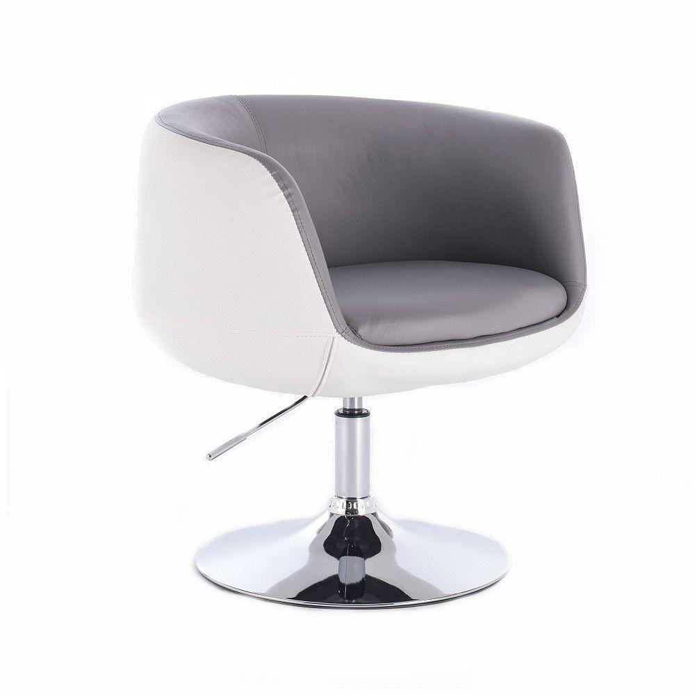 Kosmetická židle MONTANA na stříbrné kulaté podstavě - šedobílá
