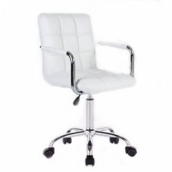 Kosmetická židle na kolečkách HC-1015KP bílá (V)
