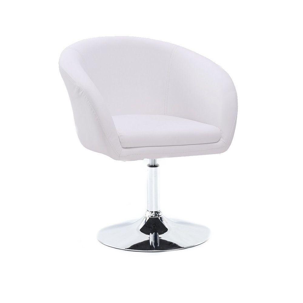 Kosmetická židle VENICE na stříbrné kulaté podstavě - bílá