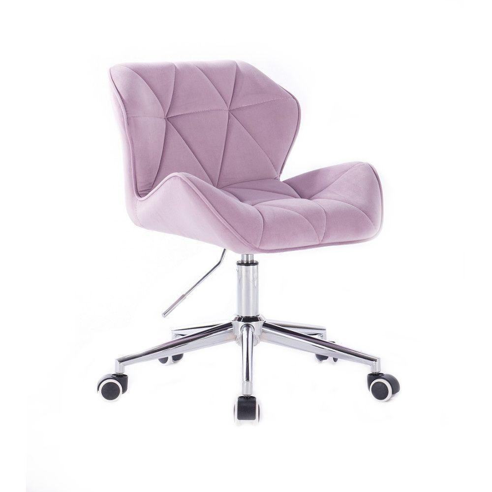 Židle HC111 VELUR na stříbrné podstavě s kolečky - fialový vřes
