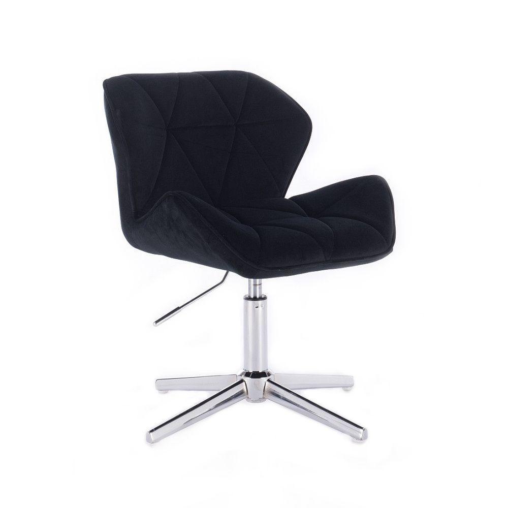 Židle HC111 VELUR na stříbrném kříži - černá