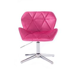 Židle HC111 VELUR na stříbrném kříži - růžová