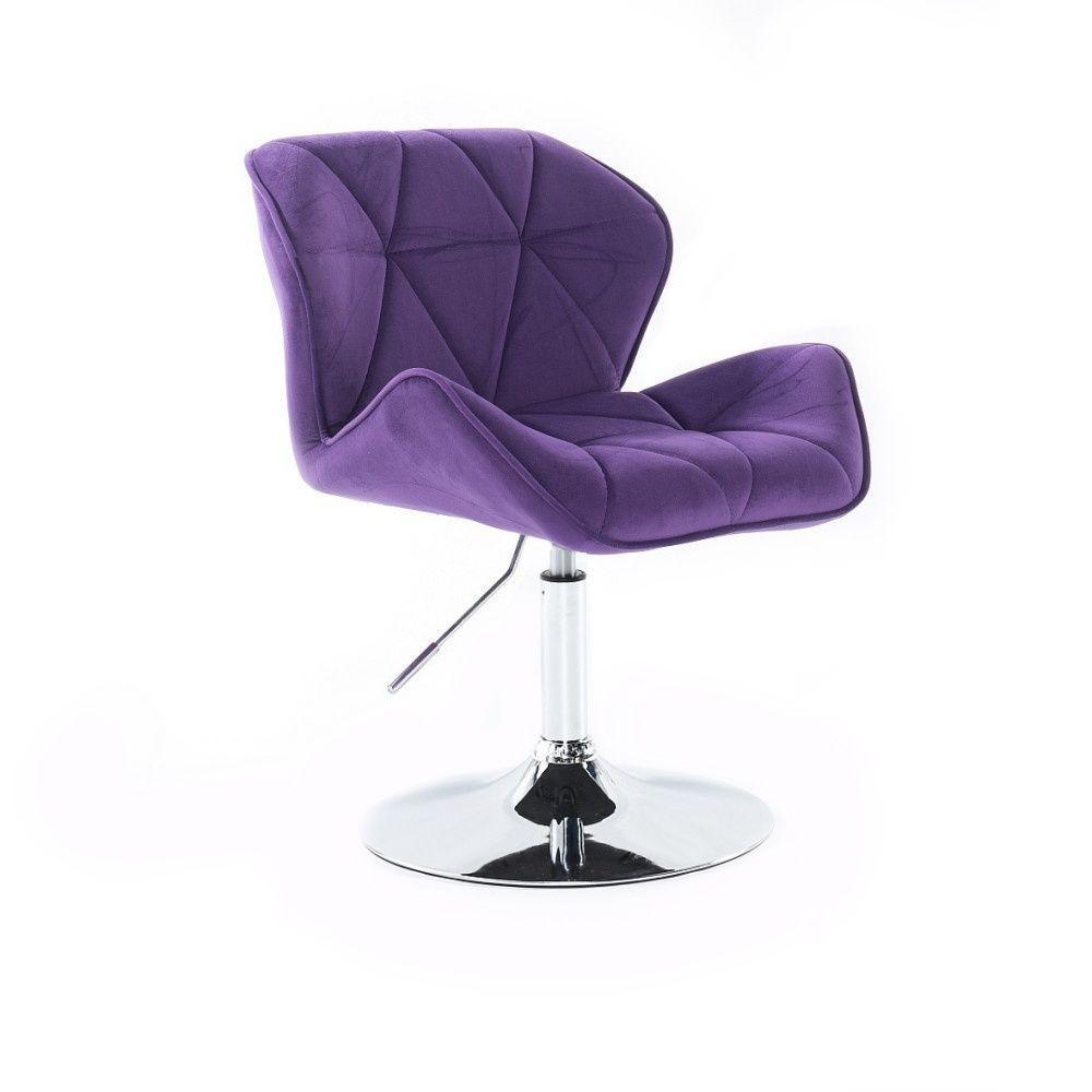 Židle HC111 VELUR na stříbrném talíři - fialová