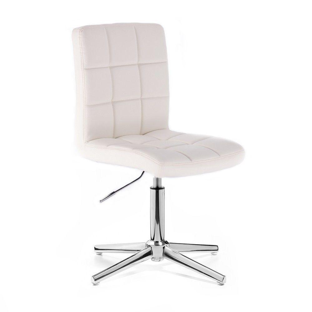 Kosmetická židle HC1015 na stříbrném kříži - bílá