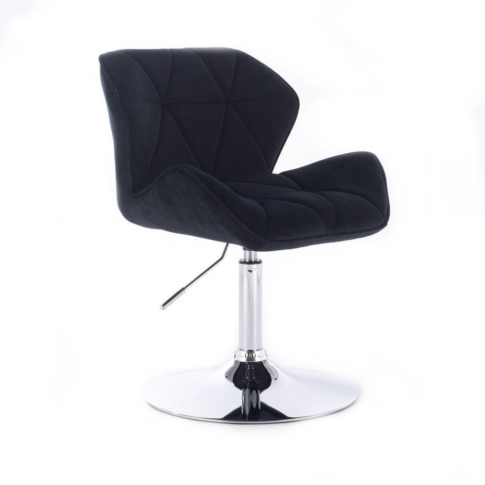 Kosmetická židle MILANO VELUR na stříbrném talíři - černá