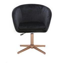 Kosmetická židle VENICE VELUR na zlatém kříži - černá