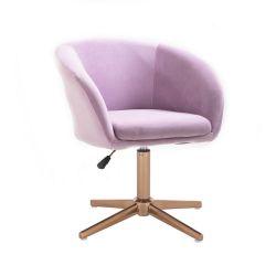 Kosmetická židle VENICE VELUR na zlatém kříži - fialový vřes