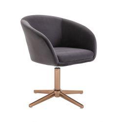 Kosmetická židle VENICE VELUR na zlatém kříži - tmavě šedá